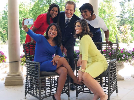 Newscasters Lori Stokes, Chris Wragge, Pat Battle, Nina Pineda and Natalie Pasquarella take a selfie at the Gloria Crest Estate in Englewood during a shoot for (201) Magazine. (Joram Mushinske/@mushinske)