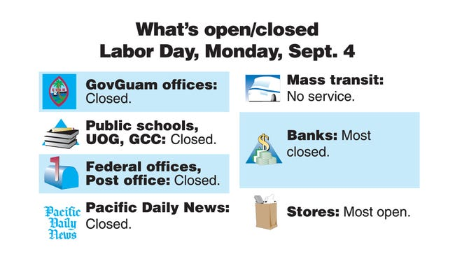 What's open/closed on Labor Day, Monday, Sept. 4, 2017.