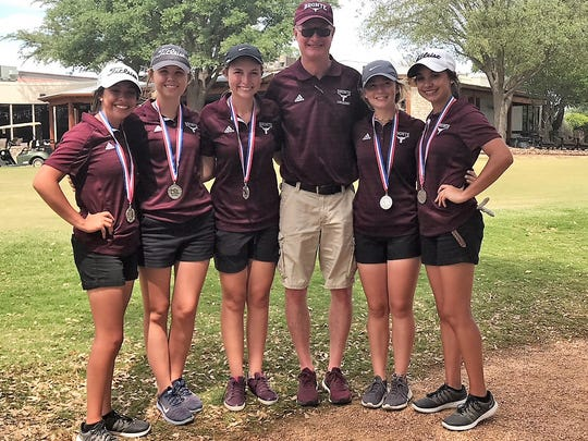 The Bronte girls golf team is made up of Baily Torres, from left to right, Payton Arrott, Darby Duncan, India Chumney and Kaily Torres. They are coached by Rocky Rawls.