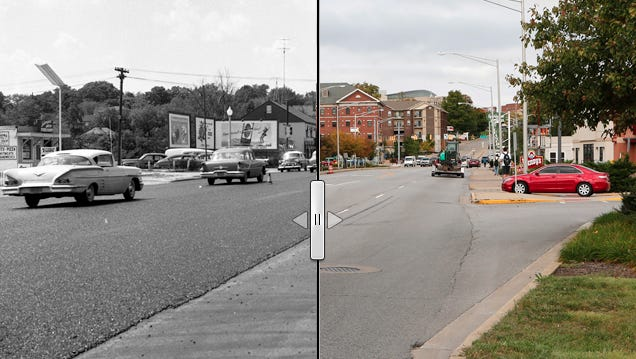 Motorists are limited to one lane each way on State Street while the state highway department completed blacktopping the arterial thoroughfare. Photo taken Aug. 24, 1959.
