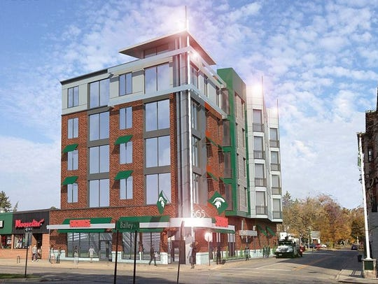 A rendering of Stonehouse Village VI apartments on