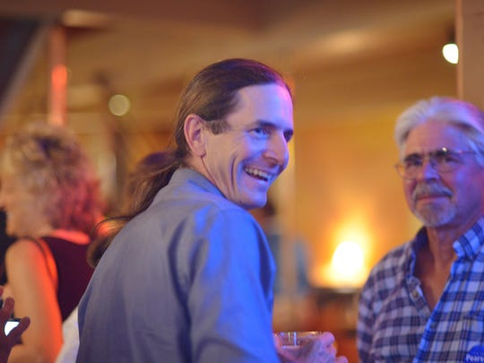 State Sen. David Zuckerman, P/D-Chittenden County, reacts to his lead in the race for the Democratic nomination for lieutenant governor on Tuesday, Aug. 9, 2016, at Sweetwaters restaurant in Burlington.