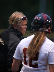 Hillsborough coach Cheryl Iaione instructs Courtney Wengryn during Friday's Somerset County final