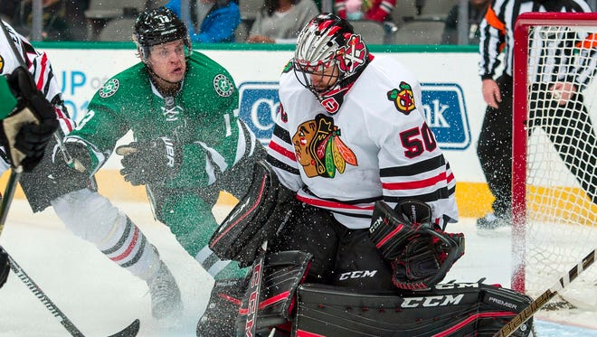 Chicago Blackhawks goalie Corey Crawford finished the regular season with a 2.37 GAA and .924 SV%.