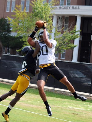 Southern Miss freshman receiver Jordan Mitchell hauls in a catch last week during fall camp.