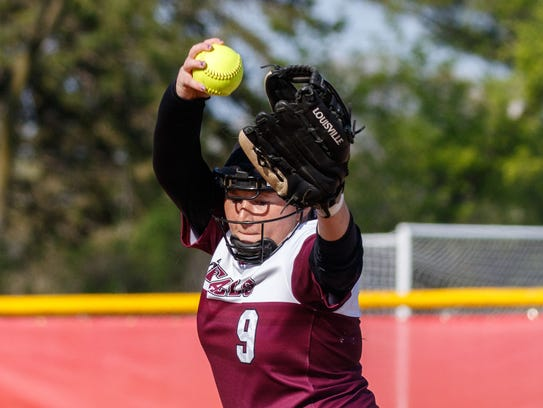 Menomonee Falls pitcher Ciera Jones winds up during