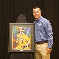 J.D. Drew poses for a photo at the Hall of Fame ceremony on Saturday in Lubbock, Texas.