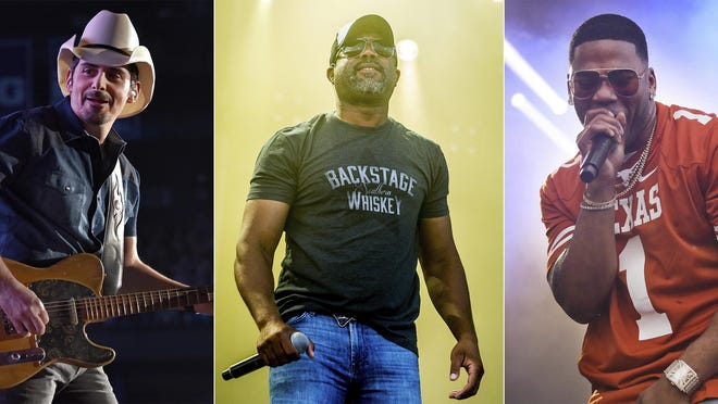"""This combination photo shows, from left, Brad Paisley, Darius Rucker and rapper Nelly, who will participate in Live Nation's """"Live from the Drive-In,"""" concert series taking place July 10-12."""