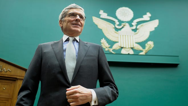 FCC Chairman Tom Wheeler testifies before the House Energy and Commerce Committee last month. Wheeler says the FCC will consider an appeal of the federal court's ruling on net neutrality.