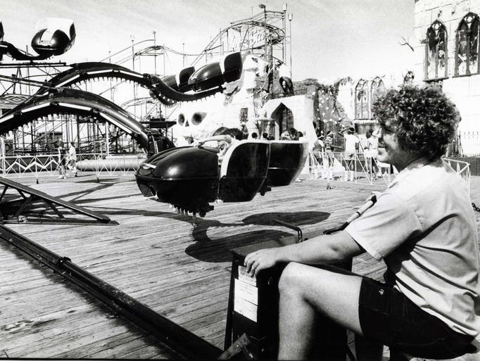 """7/22/82: Dave Schmidt, operator of the """"Spider"""" ride"""