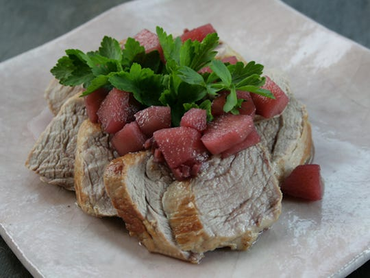 Pinot Noir Pear and Ginger Compote adds a delicious touch to seared pork tenderloin.