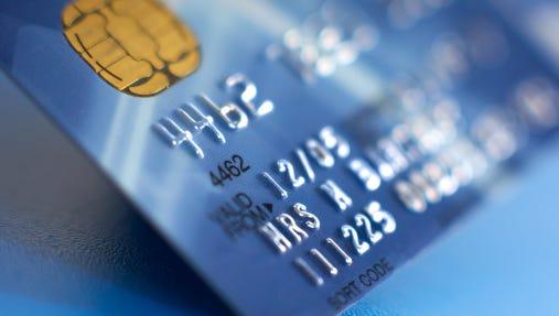 """Debit card featuring a """"smart"""" chip."""