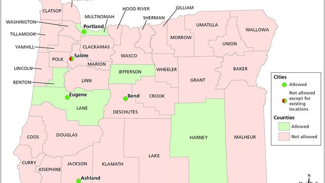 Here's how Oregon's 36 counties voted on whether to impose a moratorium on medical marijuana dispensaries.