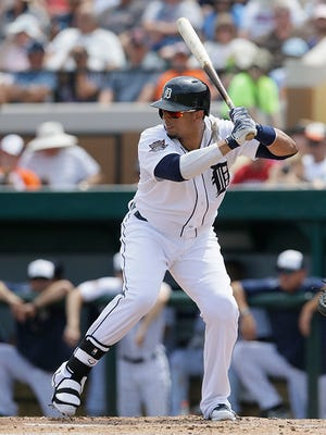 Victor Martinez bats during the second inning Wednesday against the Marlins.