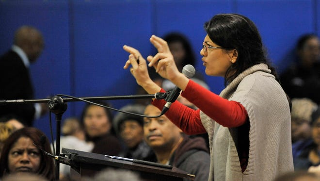 Michigan Rep. Rashida Tlaib speaks during a Detroit City Council committee of the whole public hearing.