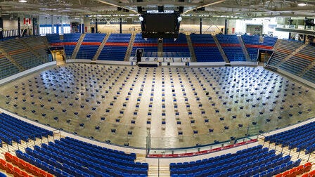 This recent photo photo showes chairs that are set up at the University of New Hampshire Whittemore Center Arena in Durham, N.H., for the 400 House lawmakers who will hold a socially-distanced session there on Thursday, June 11, 2020. It will be the first time the House has met outside of the Statehouse since the Civil War.