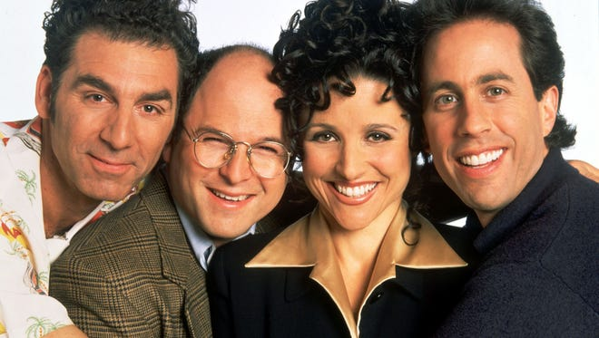 The cast of 'Seinfeld': Michael Richards as Cosmo Kramer, Jason Alexander as George Costanza, Julia Louis-Dreyfus as Elaine Benes and Jerry Seinfeld as Jerry Seinfeld.