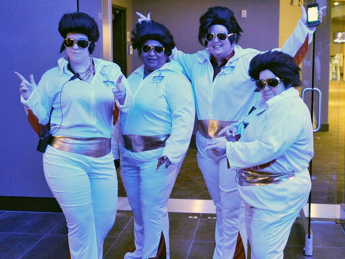 Hundreds of Elvis impersonators flooded Harrah's Cherokee Casino Saturday to try and break the Guiness World Record for most Elvis impersonators in one place. 7/12/14. Robert Bradley (rbradley@citizen-times.com)