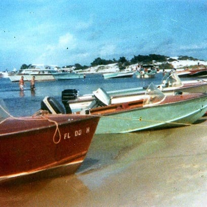 Boaters on Navarre beach in 1965, when Navarre Pass