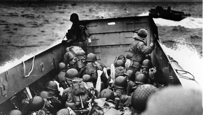 Men of the 1st Infantry Division head toward Omaha Beach on the morning of June 6, 1944.