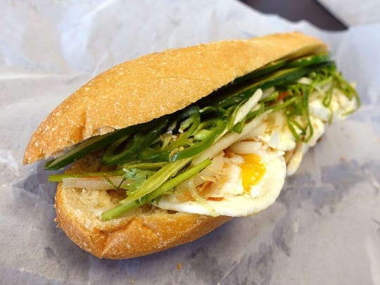 Sunny side up banh mi at Urbanh Cafe in Chandler, AZ.