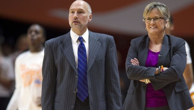 Tennessee assistant coach Dean Lockwood, left, and head coach Holly Warlick are preparing the Lady Vols to face Dayton rather than be preoccupied with the team's NCAA tournament history as a No. 5 seed.