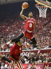 Curtis Jones goes high for a dunk as he wins this contest at the annual Hoosier Hysteria at Assembly Hall, Bloomington, Saturday, Oct. 21, 2017.