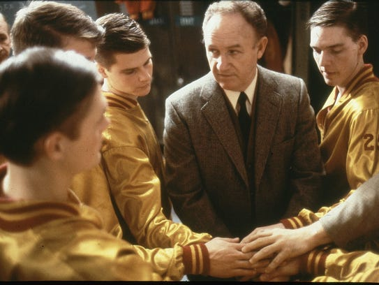 Milan high ballplayers,  the Hollywood version. Gene Hackman gathers his Hickory players
