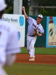 Madison County shortstop Dylan Bass makes a throw to first on a ground ball during Friday's Class 1A state semifinal against Trenton in Fort Myers.