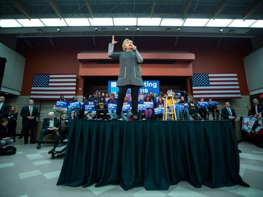 Hillary Clinton at a rally in Fairfax, Va., on Feb.