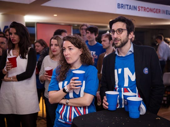 Supporters of the Stronger In campaign react after