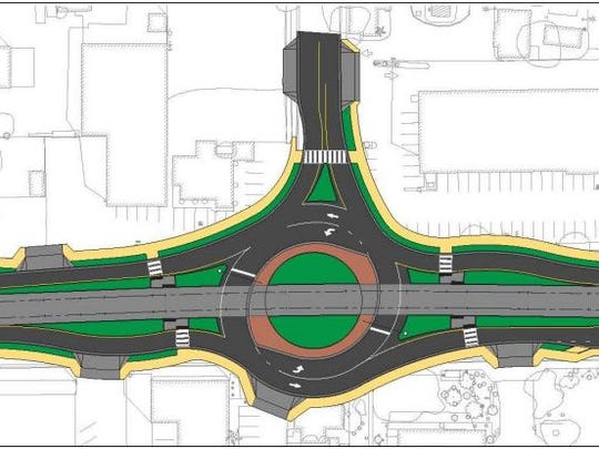 A rendering of the Harris Drive roundabout on Main Street, part of the planned Gilbert Road light-rail extension in Mesa.