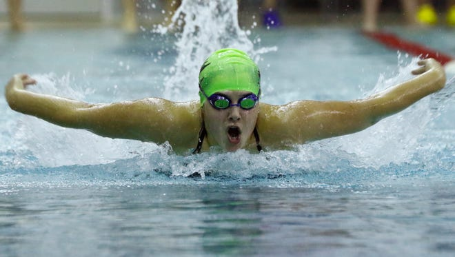 D.C. Everest's Madalyn Peterson finishes second place on the girls 200 yard IM during Tuesday's City Meet swim meet at Horace Mann Middle School in Wausau.
