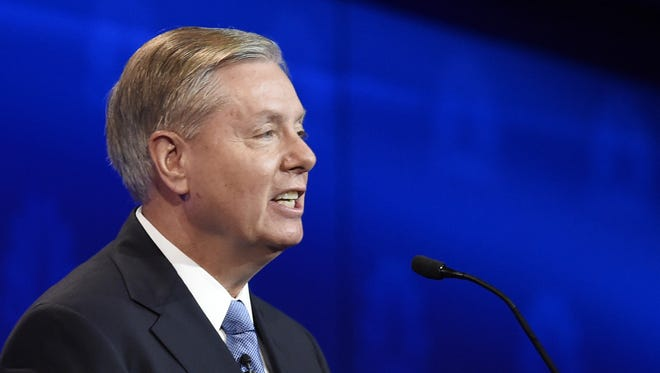 Then-candidate Lindsey Graham talks during a CNBC Republican presidential debate in October.