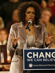Oprah was in Iowa in 2008 to campaign for Barack Obama.