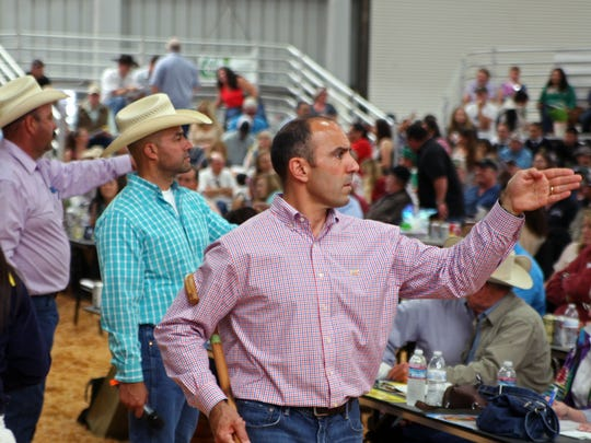Newly elected Congressman Jimmy Panetta at the Junior Livestock Auction at the Salinas Valley Fair, 2016