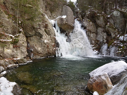 Bash Bish Falls looks, and sounds, different from summer to winter.