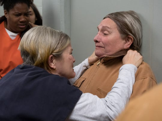 "Kate Mulgrew and Dale Soules in a scene from Season 6 of ""Orange Is The New Black."""