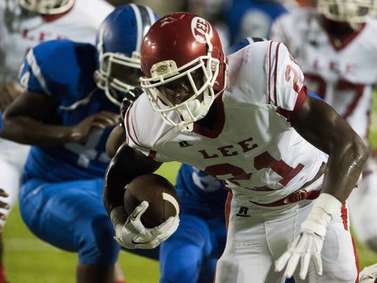 Lee's Daniel Thomas returns a kick against Lanier at Cramton Bowl in Montgomery, Ala., on Thursday August 20, 2015
