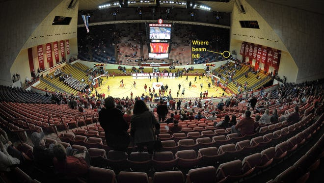 Assembly Hall photo showing where metal beam landed.