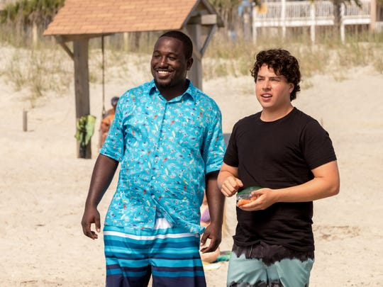 "Hannibal Buress (left) and Jon Bass star in ""Baywatch."""