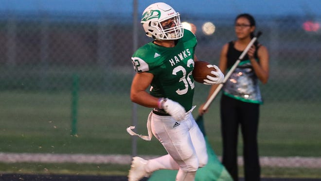Wall's Tymber Carr had eight carries for 121 yards and two touchdowns, and he caught three passes for 98 yards and a TD in Wall's 42-14 win over Iowa Park.
