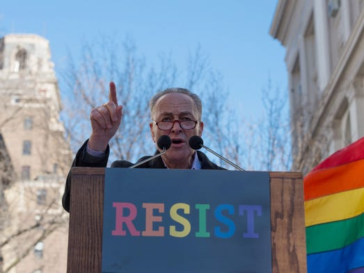 Schumer speaks at a rally in front of the Stonewall