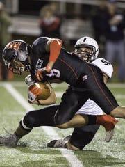 Bridgewater-Raritan defensive lineman Nick Cell attempts