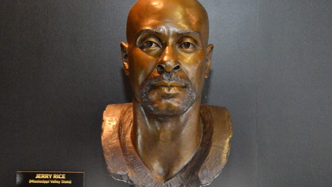 Feb 3, 2016; San Francisco, CA, USA; General view of Pro Football Hall of Fame bust of Jerry Rice at the NFL Experience at the Moscone Center.