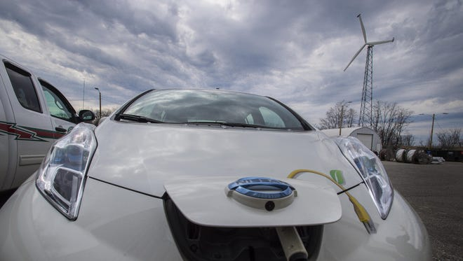One of the Burlington Electric Department's electric vehicles being charged.
