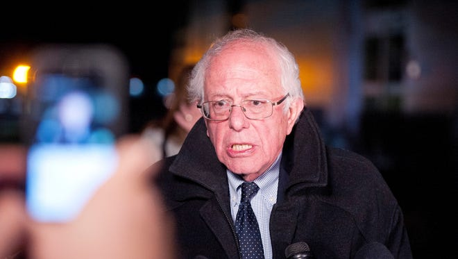 Sen. Bernie Sanders, I-Vt., addresses the media at Burlington International Airport shortly after his loss in the New York Democratic presidential primary last month.