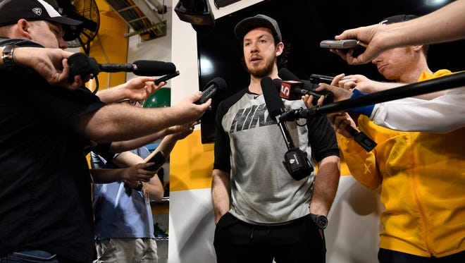 Nashville Predators center Ryan Johansen talks to the media before a team meeting after being ousted in the second round of the NHL Playoffs by the Winnipeg Jets at Bridgestone Arena Saturday, May 12, 2018, in Nashville, Tenn.