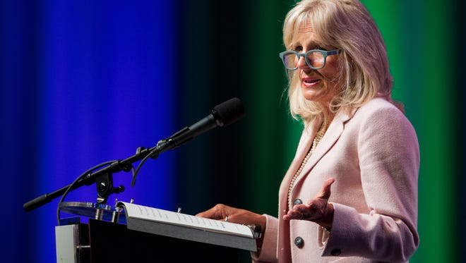 Jill Biden delivers the keynote address of the SCORE summit at Music City Center in Nashville, Tenn., Monday, Aug. 28, 2017.