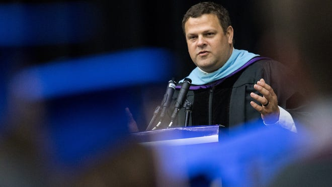 Principal Shane Pantall speaks at Page High School's graduation in 2018. Pantall will be the new principal at Franklin High School.